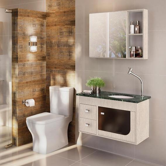 Gabinete De Banheiro Kit Verona 039 Mts Casa Móveis E