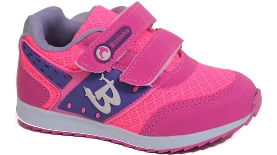 Tênis Tênis Esportivo Infantil Rosa Fechamento Em Velcro