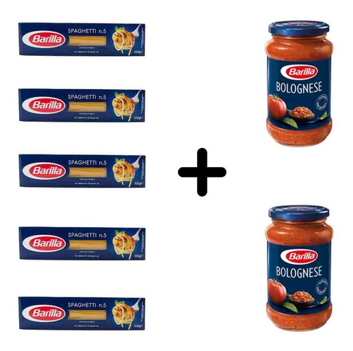 Imagen 1 de 1 de Fideos Barilla Spaghetti 5 Paquetes + 2 Salsas Bolognesa