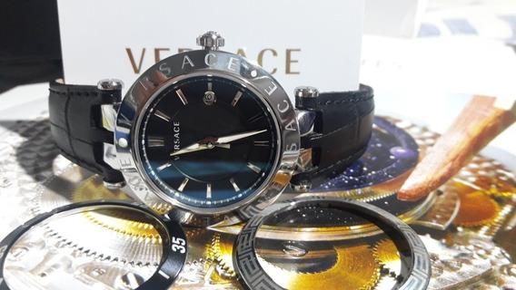 Relógio Versace Novíssimo Com 3 Bezel E Estojo Completo