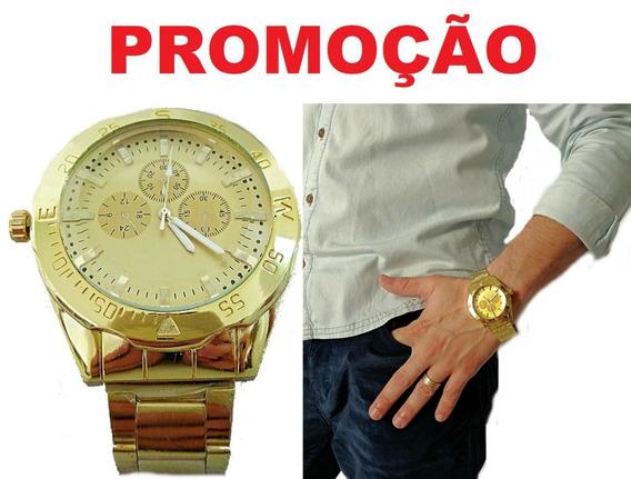 Relógio Masculino De Ponteiro Dourado Pulseira Aço Tendencia