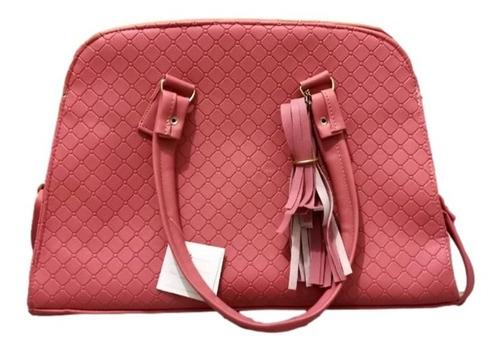 Imagen 1 de 2 de Bolso Karina Color Palo De Rosa Grande Premium