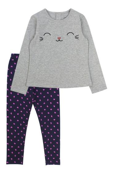 Pijama Kids Niña Miau Gris Melange Ficcus