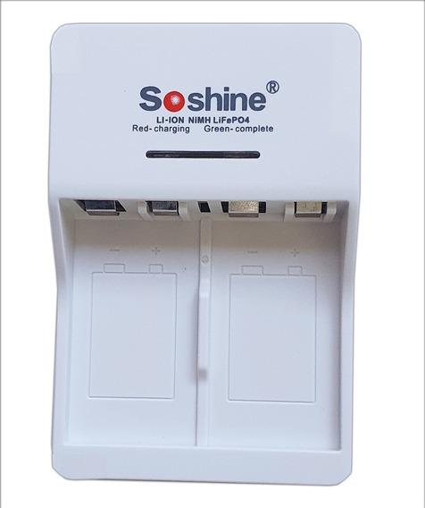 Carregador Soshine P/ 2 Baterias De 9v