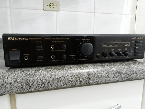 Amplificador Mixer Stereo Unic Cygnus Mod Ac 1400 Perfeito