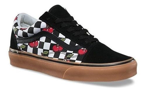 Vans Old Skool Checkerboard Cherry Black / Gum Original | Mercado ...