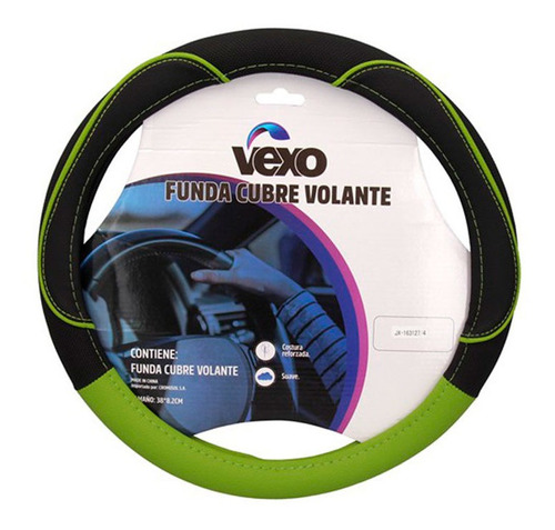 Cubre Volante Universal Diam 38 Cool Line Negro Y Verde