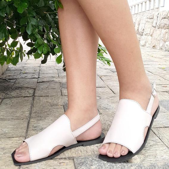 Rasteira Salto Reto Flat Vermelha / Jeans / Preta Ou Nude