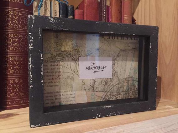Cuadrito Decorativo Para Apoyar Con Vidrio Mapa Ciudades