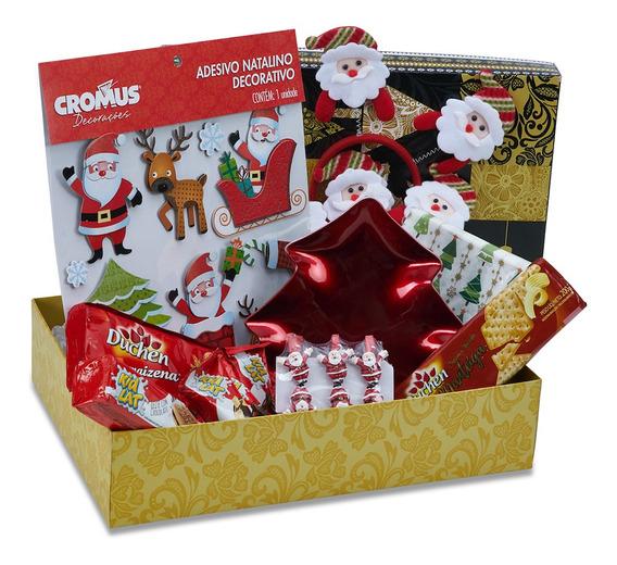 Cesta De Natal Divertida Decoração Natal Chocolate 50 Itens