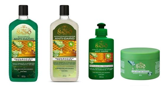 Kit Tío Nacho Antidaño Shampoo+crema+mascara+crema De Peinar