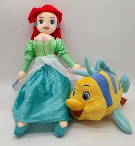 Princesa Ariel E Linguado 2 Pelúcias Filme A Pequena Sereia