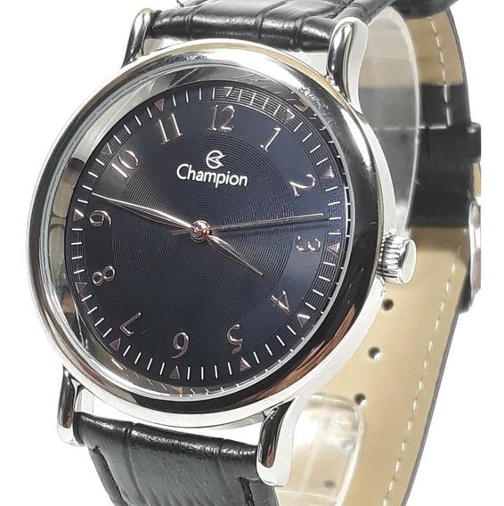 Relógio Masculino Champion Ch22813t Cromado Fundo Preto