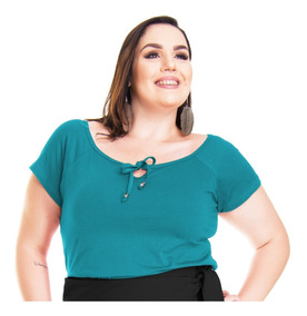 Roupa Feminina Blusa Bata De Malha Plus Size Cordão Na Gola