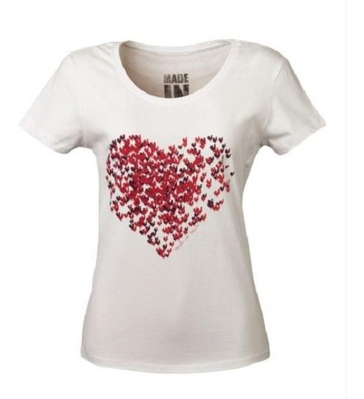 Camiseta Feminina Made In Mato Heart Off White