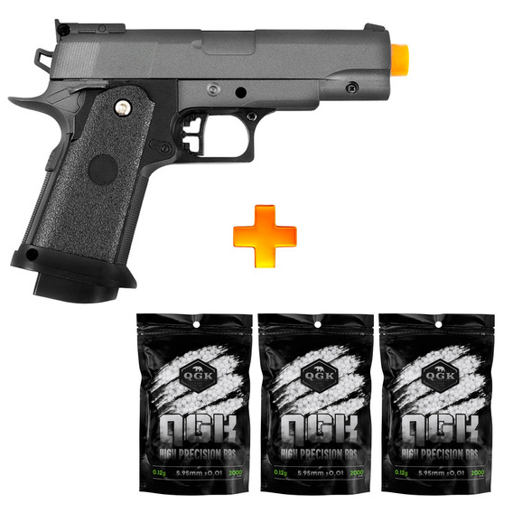 Pistola De Airsoft Spring G10 Modelo 1911 Baby Full Metal 6mm - Galaxy + 6000 Bbs 0.12g U Unica Unica