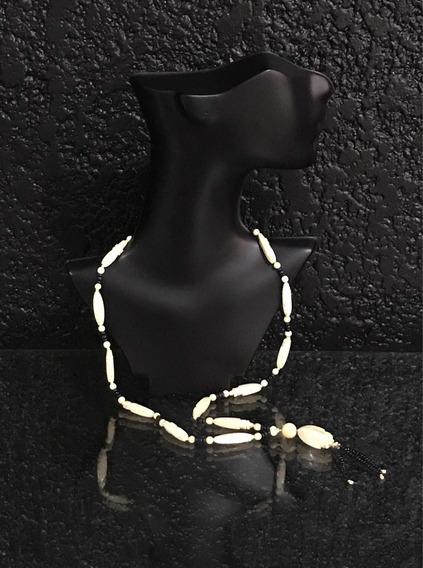 Collar 10k Y Figuras En Colmillo De Elefante Original.