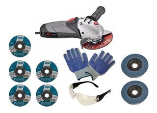 Amoladora Skil 750w + Discos Cortes + Flap + Guante+ Anteojo