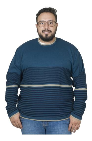 Malha Plus Size Bigshirts Gola Careca Listrado - Petrol/kak