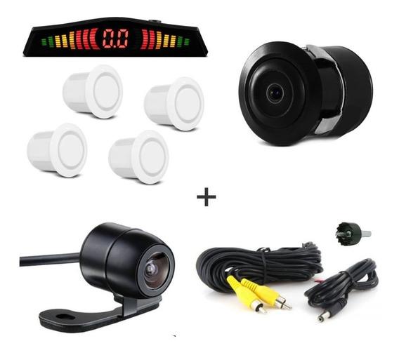 Kit Câmera De Ré + Sensor De Estacionamento Branco