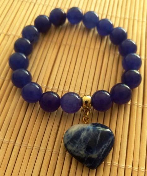 Pulseira De Ágata Azul Amuleto,protege De Raio E Tempestade.