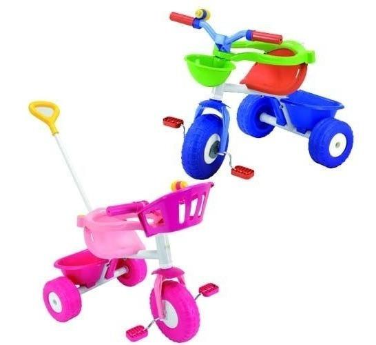Triciclo Paseo Metalico Rondi Nena Nene Pink Blue Con Barra