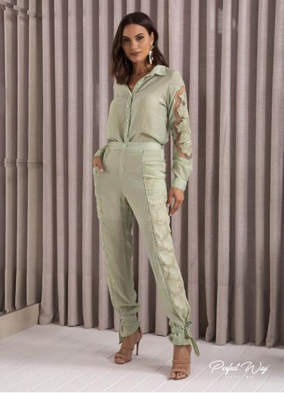 Conjunto Camisa E Calça Jogguer Verde Claro Perfect Way