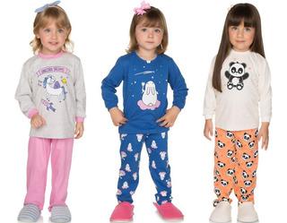 Pijama Bebê Menina Kit 3 Conjuntos Pijama Longo De Inverno