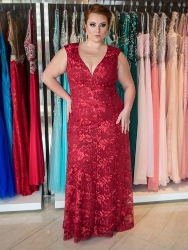ef3ab67115 Vestido Luxo Tule Bordado Mãe Noiva Madrinha Festa Plus Size - R  990