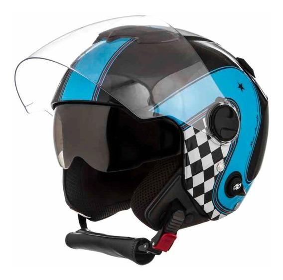 Capacete Moto Custom New Atomic Vintage Preto Azul