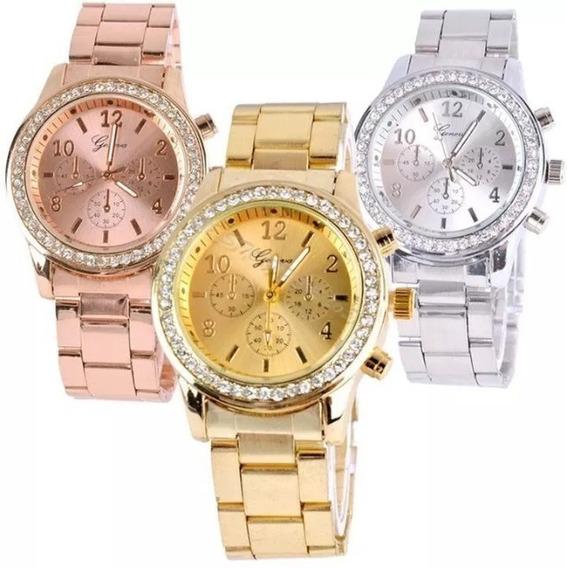 Kit 3 Relógios Feminino Original Aço Dourado Prata Rose