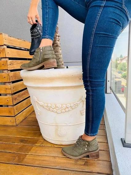 Botas Mujer Zapatos Botitas Botinetas Dama Tachas Liquidacion