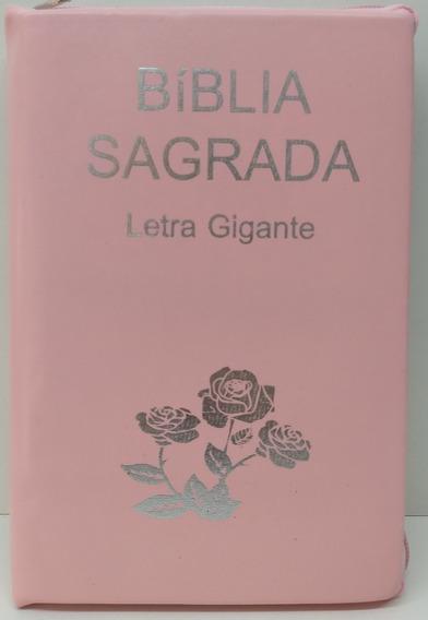 Bíblia Letra Gigante - Ra -zíper - Rosa Lisa