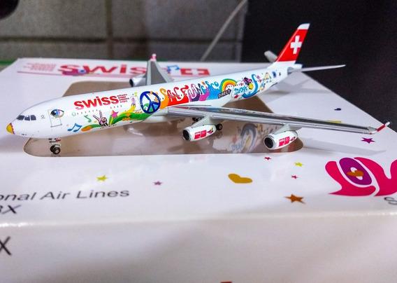 Miniatura Avião 1:400 Airbus A340-300 Swiss - San Francisco