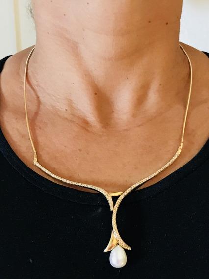 Colar Em Ouro Com Diamantes E Perola, Peso; 20,8 Gramas