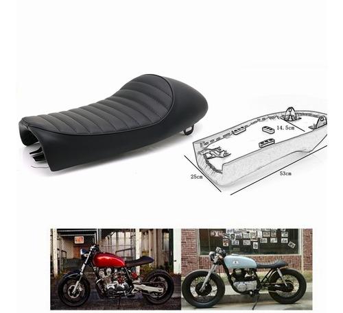 Marr/ón Gaetooely Asiento de Cafe Racer Vintage de Diamante de Motocicleta Sill/ín Retro para CB Cl Retro Cafe Racer Cb200 Cb350 Cb400 Cb500 Cb550 Cb750