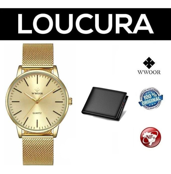 Relógio De Pulso Wwoor Clássico De Luxo + Carteira Brinde