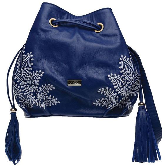 Bolsa Saco Feminina Couro Legítimo Com Bordado Azul