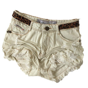 Short Jeans Degrant Cintura Alta Off White Animal Print
