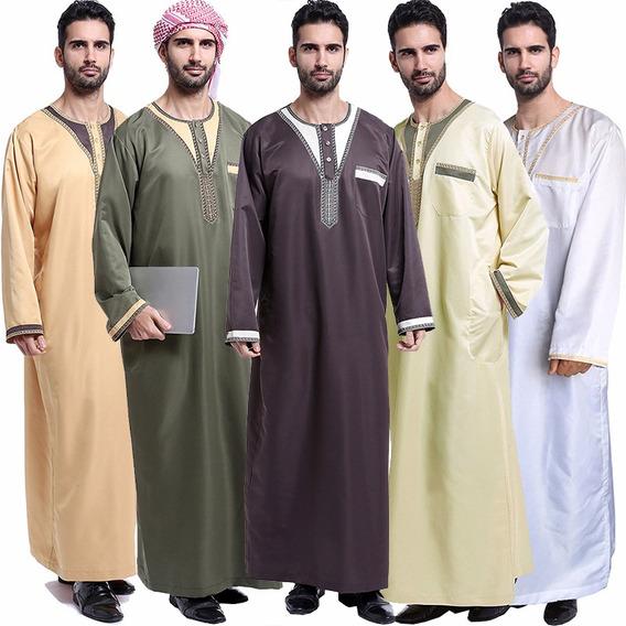 Hombres Musulmanes, Batas, Mangas Largas, Bordado, Talla Gra