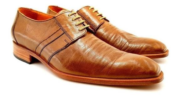 Zapato Cuero De Cabra Leonetti Marron Sport Vestir Hombre