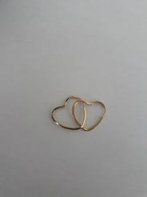 Par De Brincos De Argola Coração Infantil 1.3cm Ouro 18k-750