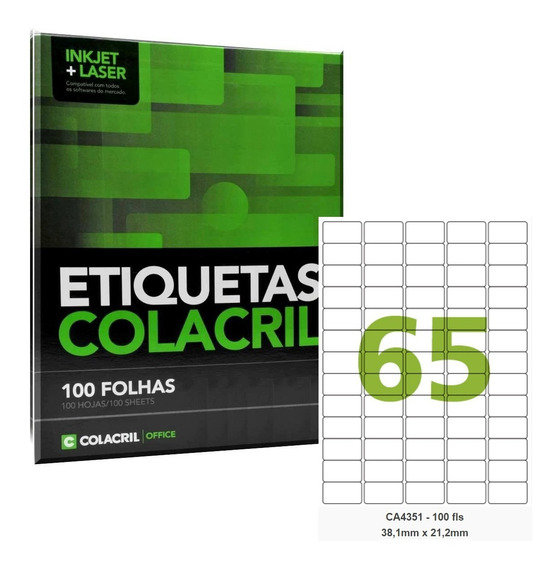 Etiqueta C A4351 38,1 X 21,2 Mm A4 100 Folhas Colacril 65
