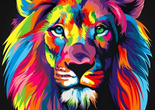 Cuadro Leon Colores Impreso Tela Canvas Moderno