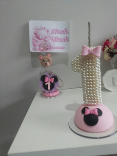 Kit Vela Pérolas Minnie Rosa Com 10 Chaveiro P/lembrancinha