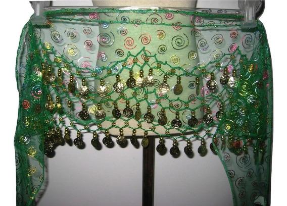 Caderín Danza Árabe Ondulado Gasa Cristal Crochet 3 Filas Mo