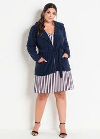 Sobretudo Peluciado Azul Marinho Plus Size Roupas Femininas
