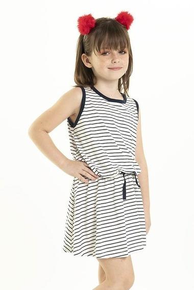 Vestido Infantil Malha Trendy Encorpado Listrado Nº 4 Ao 8
