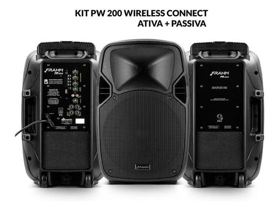 Kit Caixa De Som Pw 200 Wireless Ativa + Passiva 400w Rms
