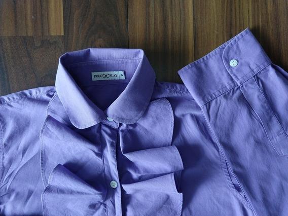 Camisa Polo Play Feminina Social Violeta Babados Original